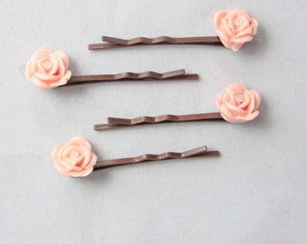 vintage rose bobby pins, bobbypin, pinup style, pink, rockabilly girl, cabochon flowers, marriage, engage, wife, girlfriend, rockabilly hair