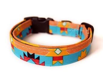Tribal Dog Collar, Southwestern Dog Collar, Designer Dog Accessories, Modern Pet Accessories, Adjustable Collar, Unisex Collar, Teal Blue