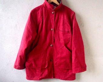 Vintage 80s LL BEAN  Jacket Chore Coat Lining Full Zip (M) Long Sleeve