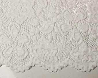 Off White 58'' Caroline Floral Scalloped Nylon Stretch Lace Fabric by the Yard- Style 686
