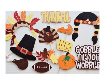 Thanksgiving Photo Booth Props ; Thanksgiving Decorations ; Turkey Photo Prop ; Gobble Til You Wobble ; Fall Festival Props