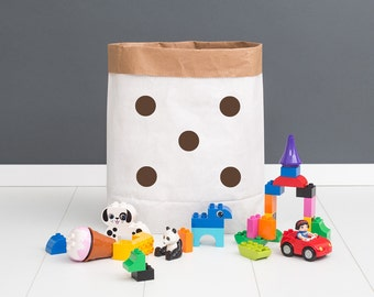 Paper bag M - points brown - powder cloud