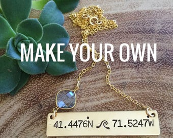 New! // Gold Filled Custom Coordinates Bar Necklace