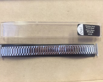 16-20mm Stainless Steel Straight Spring End-Expansion Watch Stretch Replacement Band