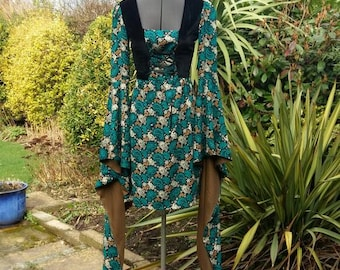 Beautiful paisley print dress with dramatic medieval sleeves