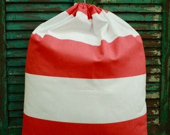 Coral and White Cabana Laundry Bag