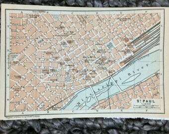 1904 St. Paul Minnesota Map [5.8 x 3.8 in.] Saint Paul