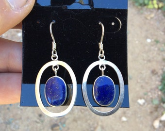 "Lapis and Silver Earrings 1.7"" from top to bottom"
