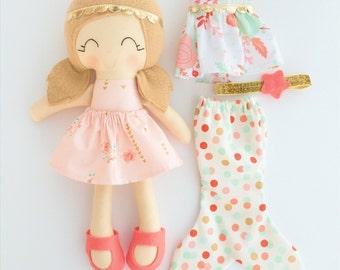 Dress up doll - fabric doll  - heirloom doll - rag doll - girls room decor - birthday gift - cloth doll - mermaid doll - lookalike doll