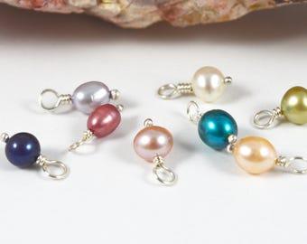 Freshwater Pearl charm, Sterling Silver Pearl dangle, June birthstone charm, birthstone jewelry
