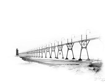 Art, Photography, Wall Art,South Haven, Michigan, Lighthouse, Catwalk, Lake Michigan, Black White, High Key, Pier, Black River,Light