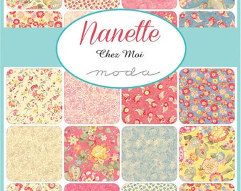 Nanette Charm Pack by Chez Moi for Moda Fabrics, 5 inch squares