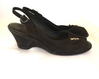 1940's Black Felt Peep Toe Sling Back Wedge Heels Sz 9B