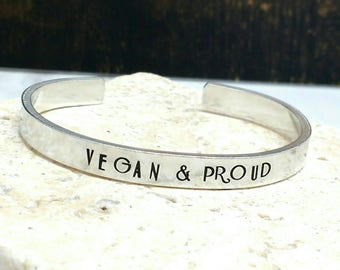 Vegan and proud art deco font bracelet - adjustable - handstamped - aluminium, copper, brass or sterling silver