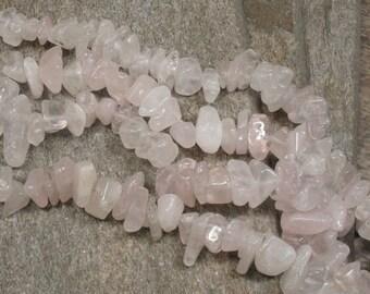 """Rose Quartz Chip Beads - 15"""" Strand - Item B0799"""