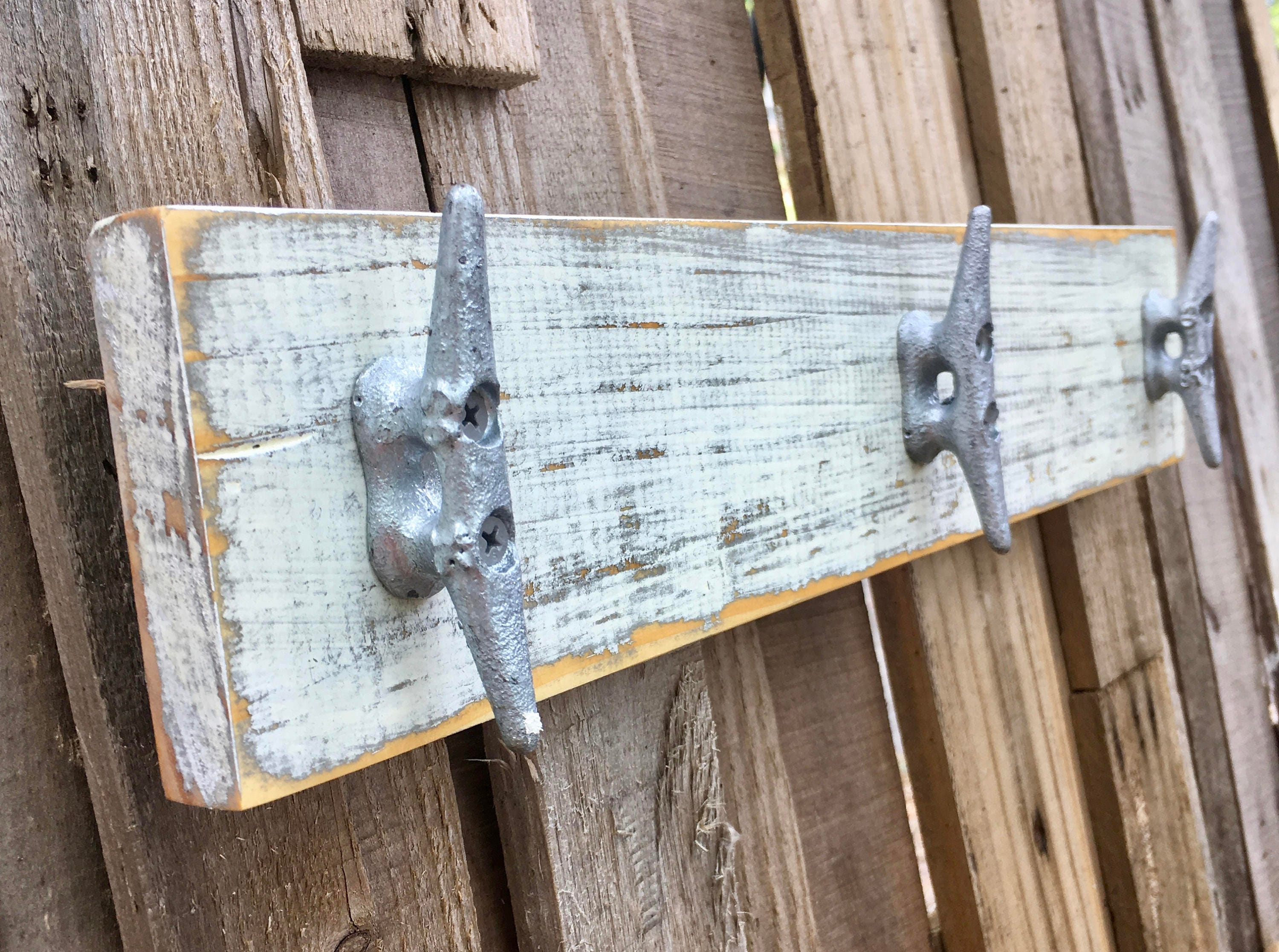 Lovely Nautical, Distressed White, Boat Cleat Coat Rack, Towel Rack, Book Bag Rack,  Hat Rack, Or Key Rack With Boat Cleats And Reclaimed Wood Part 15