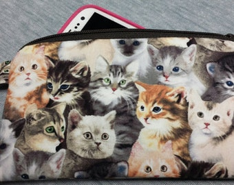 Zipper Pouch, Coin Purse, Credit Card Holder, Phone Holder, Kittens, Cats, Nylon Liner, Lobster Clip,Animals,Washable.