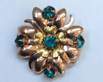 Vintage Courtly Brooch Rose and Yellow Gold Filled with Emerald Green Rhinestones