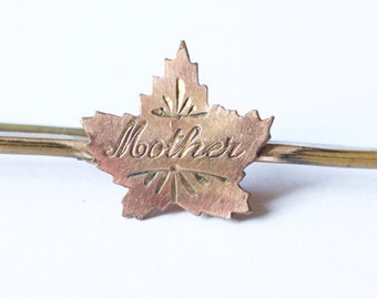 Vintage Maple Leaf Mother brooch pin
