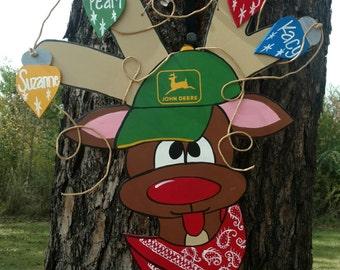 Christmas door hanger, Leroy the Redneck Reindeer Door hanger, Leroy reindeer wreath, Leroy the Redneck Reindeer wreath