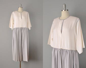 80s Dress // 1980s Ivory and Pale Grey Silk Chemise Dress // S-M