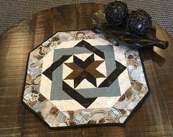 Octagonal Blue, Brown and White Table Topper