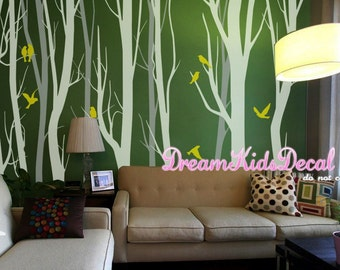 Vinyl wall decal birch tree wall decals baby nursery wall stickers, tree decal nursery decoration, Wall Murals-a set of 12 trees-DK233