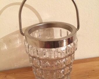 Ice Bucket - Chrome Handle - Crystal clear Glass - Vintage