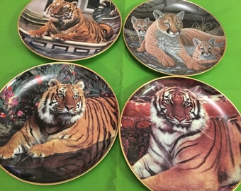 collectible limited edition plates- 3 Tiger / 1 lioness & cubs plates from fine porcelain Franklin Mint