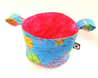 Map Fabric Teeny Tub Storage