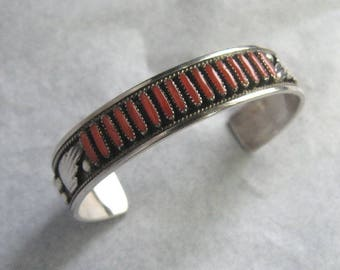 Vintage ZUNI PETIT POINT Coral and Sterling Cuff Bracelet by Dave and Celia Nieto; If the Cuff Fits . . .