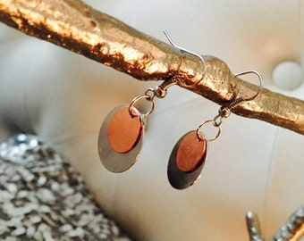 Round Copper and Silver Metal Silver Earrings