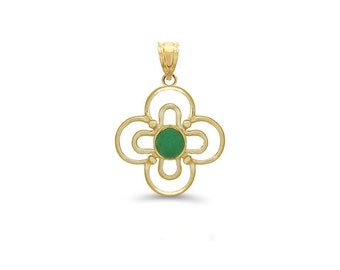 14k solid gold genuine emerald clover pendant. Emerald floral jewelry,