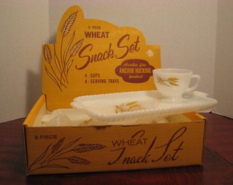 Vintage Anchor Hocking Wheat Snack Set-Original box