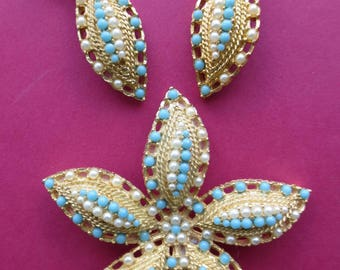 Vintage Sarah Cov. Starfish brooch and earrings
