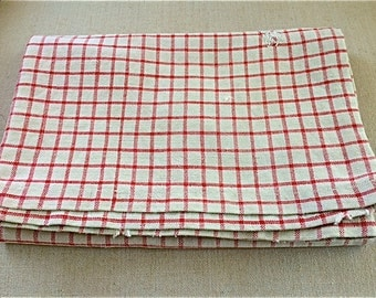 Vintage Red/Natural Linen Pillow Sham