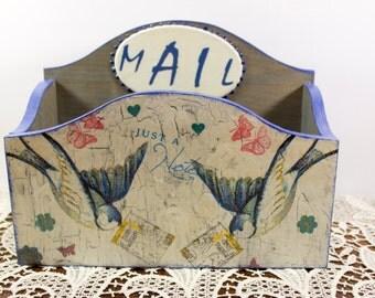 Mail holder magazine holder mail organizer wooden magazine rack mail organizer desk mail sorter wooden mail holder magazine file vintage