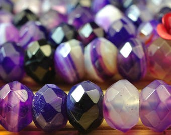 68 pcs of Natural Purple banded Agate  faceted rondelle beads in 5x8mm