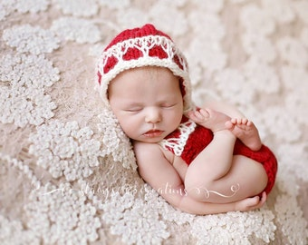 Newborn knit romper set, romper, bonnet, knit,crochet,photo prop,gift,coming home,balentines day,christmas,red