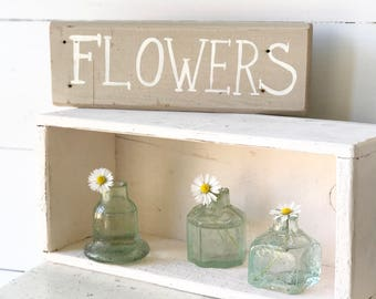"Hand painted vintage reclaimed wood ""Flowers"" sign"