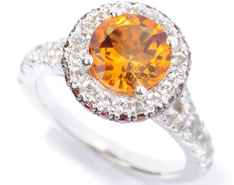 Sterling Silver 3.85ctw Citrine Solitaire w/ accent Ring SZ 5,6,7,8,9,10