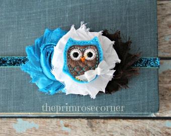 Owl Baby Headband, Owl Teal and Brown Headband, Owl Baby Shower,  Flower Headband, Newborn Headband. Owl Decor. Owl Baby Gift