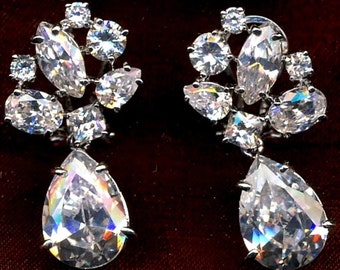 Cubic Zirconia Silver-tone Dangling Earrings for Pierced Ears Only New