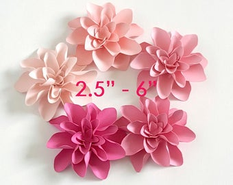 "3D Pink Dahlia Paper flowers/ wedding and party flowers / 2.5"" -6"" pink paper flowers/ set of 10 flowers"