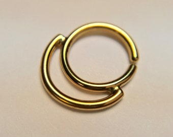 Gold Double Tiered - Layered -  Septum Ring