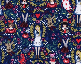 Pre-Sale- Wonderland in Navy (metallic)- Wonderland by Rifle Paper Co for Cotton and Steel