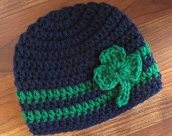 Crocheted Baby Boy St. Patrick's Day Hat ~ Dark Navy Blue & Kelly Green with Shamrock ~ Baby Shower Gift ~ Newborn to 5T - MADE to ORDER