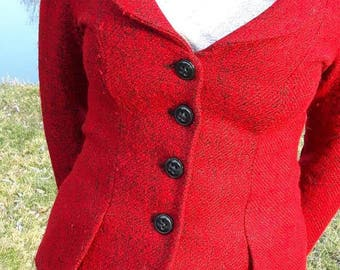 Vintage - red black patterned wool Blazer