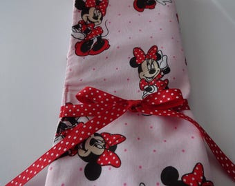 Handmade Knitting Needles and Hook Case, Knitting Needles Organizer, Case for Knitting Needles, Minnie Mouse, Disney, Pink, Red, Polka Dots