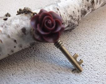 Skeleton Key Necklace Rose Key Pendant Long Chain Fantasy Key Skeleton Key Necklace Key to my Heart Necklace